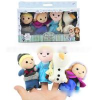 Wholesale HOT New Kids Boys Girls Toys Baby Plush Toy Finger Puppets Talking Props animal group Frozen toys Elsa Anna Baby Dolls J0529