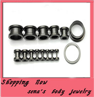 Wholesale F03 Body Piercing Jewelry mix size stainless steel mix screw black ear plug flesh tunnel piercing body jewelry