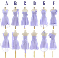 Hand Made Flower lavender bridesmaid dresses - New arrival Lavender Cheap Bridesmaid Dresses Above knee Mini Sweetheart One Shoulder Handmade Flower Chiffon A Line Party Cocktail Gowns
