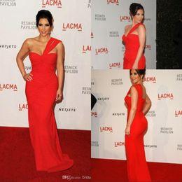 Wholesale One Shoulder Chiffon Red Celebrity Evening Dress of Kim Kardashian Sheath Red Chiffon Celebrity Dresses