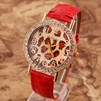 Women's leopard watches - Multicolor womage Leopard watches PU women s watches Shiny Diamond watches YJP11