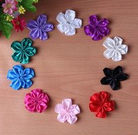 other Blending Solid 200pcs lot Wholesale-Mini Satin Ribbon Single Flowers DIY Hair Accessories Many Colors For You Choose.