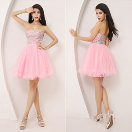 Wholesale 2014 New Fashion In Stock Cheap Luxury Pink Mini Homecoming Dresses Crystal Strapless Short Young Girls Party Cocktail Evening Gowns XU001PK