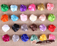 Wholesale 1 quot Shimmery Satin Ribbon Rose Flowers Flat Back DIY Photo Props Headband Accessories
