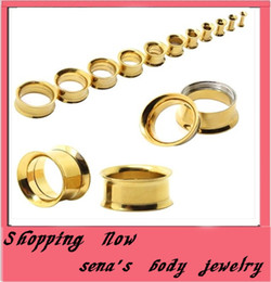 Mix 5-20mm 72pcs Stainless Steel gold internally Ear Tunnel Body Jewelry double Flare ear plugs