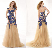 Reference Images Crew Tulle 2014 Sexy Backless Evening Dresses High Neck Applique Tulle Capped Tarik Ediz Dress Sweep Train A-Line Pageant Dress Formal Prom Dress Gowns