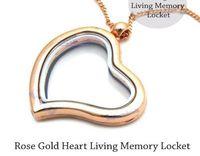 Lockets living lockets - 5pcs Rose Gold Heart Shaped Living Memory Locket Necklace For Floating Charm