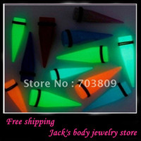 Wholesale acrylic solid body piercing glow in dark ear plug P20 ear expander ear taper jewelry mix color size
