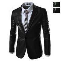 Wholesale new men s Korean shall Slim Blazer fashionable leather jacket PU high quality color size M XXL