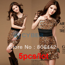 Wholesale 5pcs New Sexy Crew Neck Leopard Women s Mini Clubbing Dress Party Clubwear Business Evening Dress