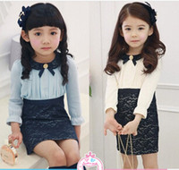 TuTu Spring / Autumn A-Line Autumn Korean Girl's Fashion Lace Princess Dress Children Lace Slim Dress Kids Clothing Girl Dresses 5 pcs lot S0725-06