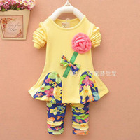 Girl Spring / Autumn Long 2014 flower dresses long sleeve polo girls autumn shirts girls clothes tshirts baby clothes children clothing flowers leggings 100 cotton