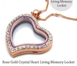 5pcs Rose Gold Crystal Heart Living Memory Locket For Floating Charm