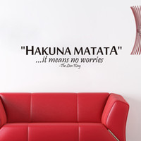 Removable art lion king - Hakuna Matata It Means No Worries Lion King Quote Vinyl Wall Stickers Removable Art Bedroom Design Mural