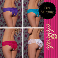 Lace Briefs Sexy Free Shipping New Design Open Crotch With Five Colors See Through Women Underwear Sexy Panties Thong P5008