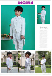 Wholesale Hot Sale Custom Made Cheap Kids Tuxedos White Boys Suit Handsome Wedding Party Boys Formal Occasion Suit Formal Attire