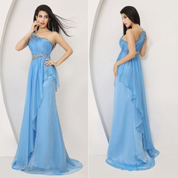 Wholesale 2014 New Summer In Stock Blue Luxury Sexy Fashion Evening Dresses Chiffon Crystal One Shoulder Asymmetrical Bridal Party Prom Gowns XU003