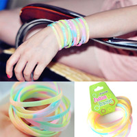 Wholesale Fashion Sports Letter Night Luminous Silicone Rubber Bracelet Fluorescent Color Hand Ring Hair Band Rainbow loom Free DHL Factory Price