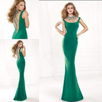 Reference Images Crew Satin New 2014 Sexy Green Tarik Ediz Evening Dresses Scoop Sheath Formal Dress Backless Prom Dress Gowns Pageant Dress Beading Floor Length Capped