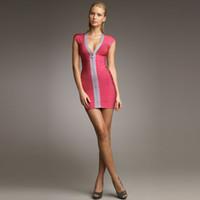 Wholesale Women s Bodycon Bandage Dresses Sexy V Neck Low Cut Slim Tunic Panelled Zipper Mini Party Dress New Arrival