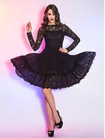 2015 Hote продажи Принцесса-линии длиной до колен платья коктейль Queen Anne с длинным рукавом Иллюзия Zipper кружева и шифон сексуальное платье