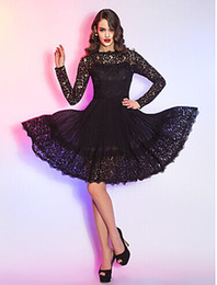 Wholesale 2015 Hote sale Princess A line Knee length Cocktail Dresses Queen Anne Long Sleeve Illusion Zipper Lace And Chiffon Sexy Dress