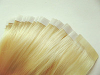 Wholesale lightest blonde Straight Remy PU Skin Weft Tape in Hair Extensions inch gram Strong M Tape attached