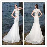 Wholesale 2014 Jewel Mermaid Wedding Dress Chiffon And Stretch Satin Court Train Capped Zipper Draping Embroidery Fashion New Beach Wedding Dresses