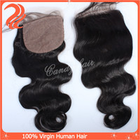 Brazilian Hair Natural Color Body Wave Brazilian virgin hair 6A Lace top closure silk base Free part natural color 100% human hair extension remy hair weft