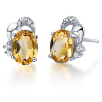Stud 925 earrings Natural Semi-precious Stone jewelry 925 Sterling silver natural Citrine stud earring Birthstone Gift se0025c