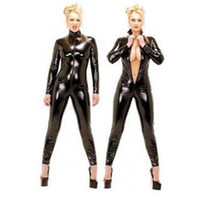 Women catsuits - Tight Sexy Women Catsuits Long Sleeves Black Leather Women Jumpsuits High Collar High Quality Catsuits Front Zipper ZT9066
