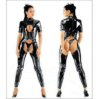 Zentai / Catsuit Costumes catsuits - 2014 Sexy Women Catsuit Hollow Out Hip Short Sleeves Jumpsuits High Collar One Piece Catsuits High Quality Fast Shipping ZT9067