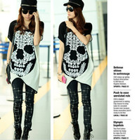 Women V-Neck Long New Women's clothing Punk style Joining together Loose version section Skull Skeletons Short sleeves Personality T-shirt TX0620