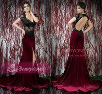 Wholesale Burgundy velvet sexy mermaid evening dresses black applique lace sexy V neck cap sleeves keyhole back court train split prom gowns BS71709
