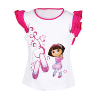 Wholesale lovely cheap red girls shorts summer t shirts for children purple red color clothing age for t t piece cotton hot sale dora tees