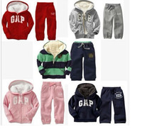 Wholesale 2014 Hot sell boys girls children winter wool sherpa baby sports suit jacket sweater coat amp pants thicken kids clothes