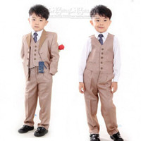Wholesale Hot Sale Custom Made Fashion Kids Tuxedos Beige Boys Suit Handsome Wedding Party Boys Formal Occasion Suit Formal Attire