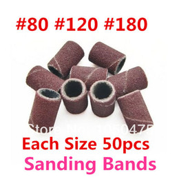 Wholesale-MN-Free shipping#80  120  180 each size 50pcs Sanding Bands For Manicure Pedicure Nail Drill Machine, 150pcs pack