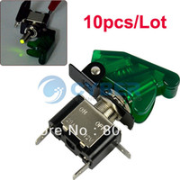 Wholesale 10pcs V A Car Auto Cover Green LED SPST Rocker Toggle Switch Control On Off New TK0170