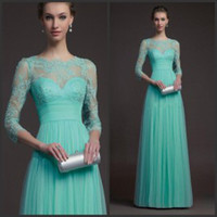 Model Pictures Crew Lace Beaded Lace Evening Gowns 2015 Illusion Neckline Mother of the Bride Groom Dresses Ruffled Waist Sheer Evening Dresses with 3 4 Long Sleeves