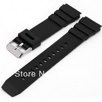 Rubber Black Watchbands 18mm New Waterproof Silicone Rubber Mens Military Sport Watch Band Strap Black
