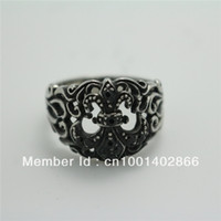 Cheap New Fashion Mens Boys Fleur De Lis Black CZ Stone Hollow Out 316L Stainless Steel Ring Free Shipping New Gift