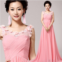 Model Pictures Sweetheart Chiffon pink chiffon mermaid Prom Dresses 2014 fashion appliques flower girl party dress . plus size dresses under $50 .5932