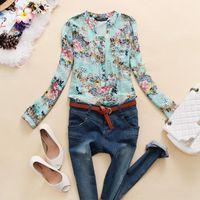 V-Neck Regular Acetate Hot sale Women v-neck chiffon blouse flower printed Pleated shirt women clothing Floral blusas femininas dudalina b8 SV001942