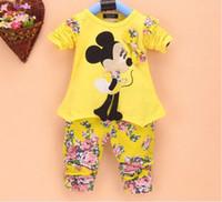 Wholesale 2014 Korean Autumn Children Girls Cartoon Miki Printed Floral Bowknot Short Sleeve Flower th Trousers Set Kids Clothing M0550