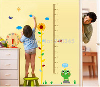 Cheap [Saturday Mall] - cartoon frog Sunflower height growth measurements stickers removable wall decorated children's room 6680
