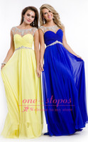 Cheap Reference Images 2014 Evening Dresses Best Crew Chiffon Royal Blue Dresses