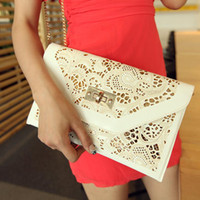 Handbags Yes None Chain White Hollow Envelope Clutch Red Women Leather Handbags New 2014 Women Messenger Bags Free Shipping Purse Wallet Wholesale