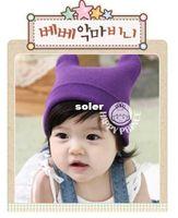 Boy Summer Crochet Hats 2014 Newest Korean Version Crochet Cute Knitted Cap Baby Children Bomber Hats Lovely Ox Horn Costume Winter Hat