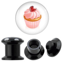 Plugs & Tunnels Acrylic, Resin, Lucite Chirstmas cute UV acrylic ice cream ear tunnel plug body piercing jewelry,40pcs lot